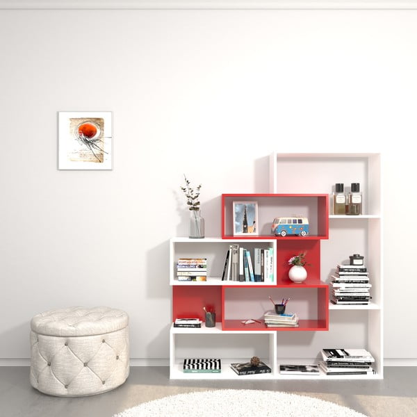 Bílá dřevěná knihovna s červenými detaily Era, výška150cm