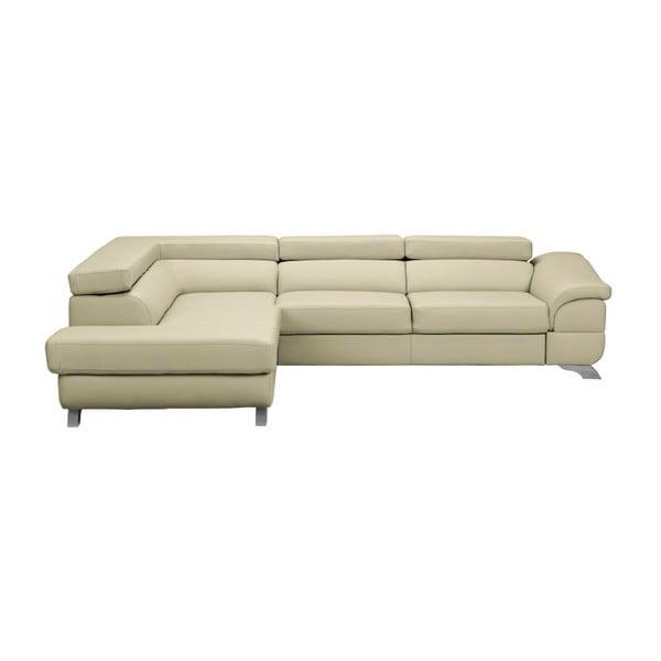Béžová kožená rozkládací rohová pohovka Windsor & Co Sofas Gamma, levý roh
