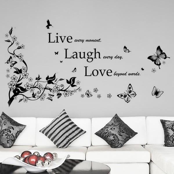 Samolepka na stěnu Žij, směj se, miluj