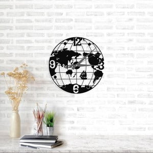 Černé nástěnné hodiny Globe Clock, ⌀ 50 cm