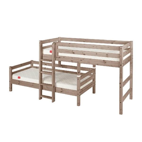 Brązowe dziecięce łóżko piętrowe z drewna sosnowego Flexa Classic