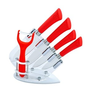 5dílná sada nožů ve stojanu Coated, červená