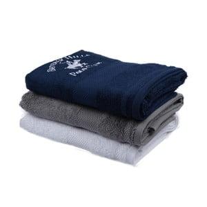 Sada tmavě modrého, šedého a bílého ručníku Beverly Hills Polo Club Tommy Orj, 50x100cm