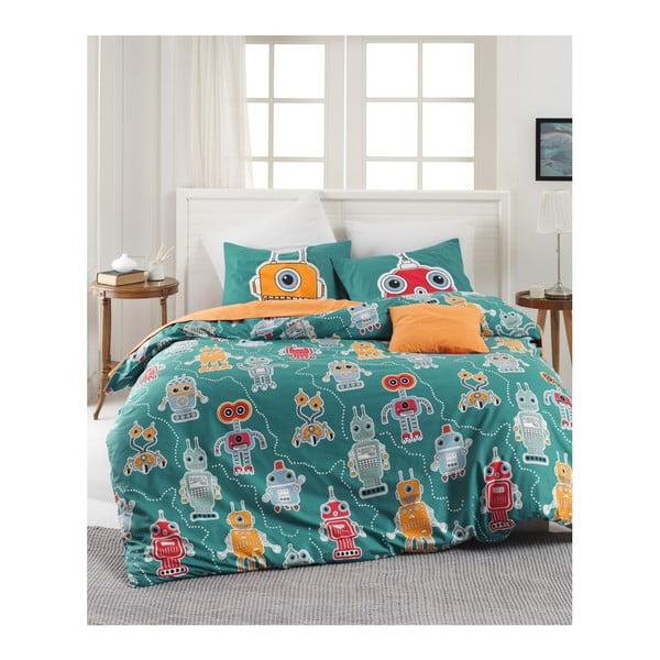 Lenjerie de pat cu cearșaf din bumbac ranforce, pentru pat dublu Mijolnir Robotte Green, 200 x 220 cm