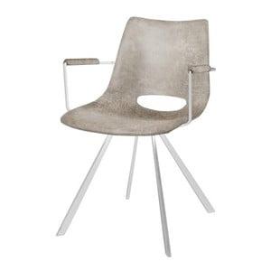 Šedá jídelní židle s bílým podnožím a područkami Canett Coronas