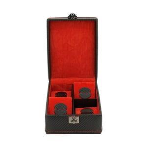Cutie pentru 4 ceasuri Firedrich Lederwaren Carbon, negru roșu