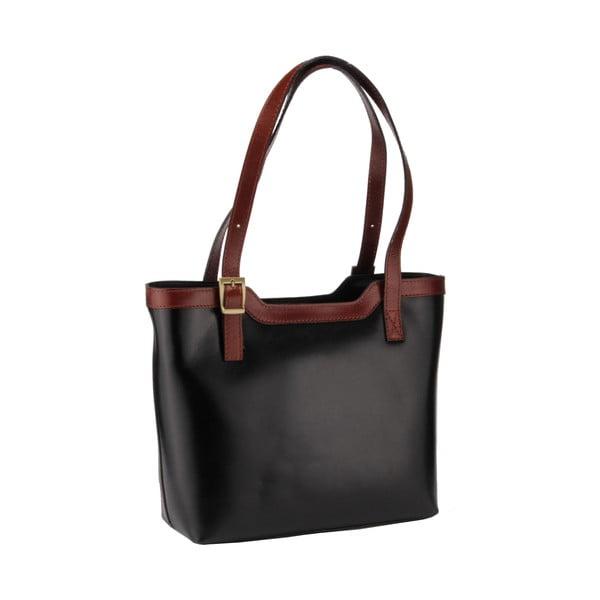 Kožená kabelka Emilio Masi Zosma, hnědá/černá
