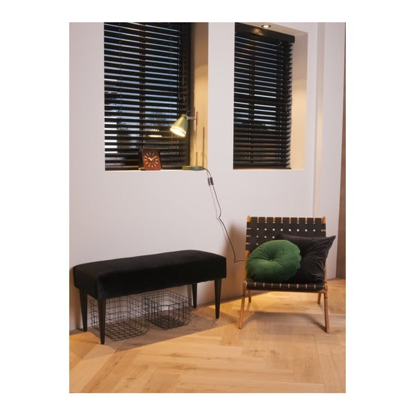 Černá lavice se sametovým potahem Leitmotiv Luxury