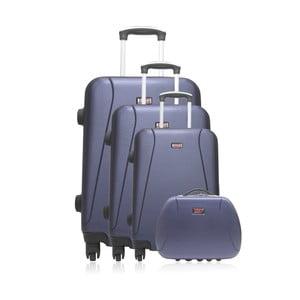 Set 3 modrých cestovních kufrů na kolečkách a kufříku Hero Travel
