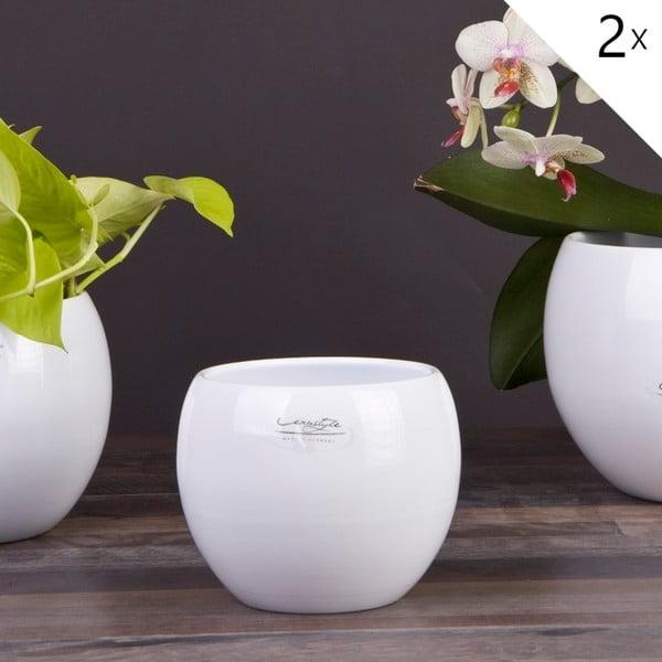 Sada 2 bílých květináčů Arctic, 14 cm