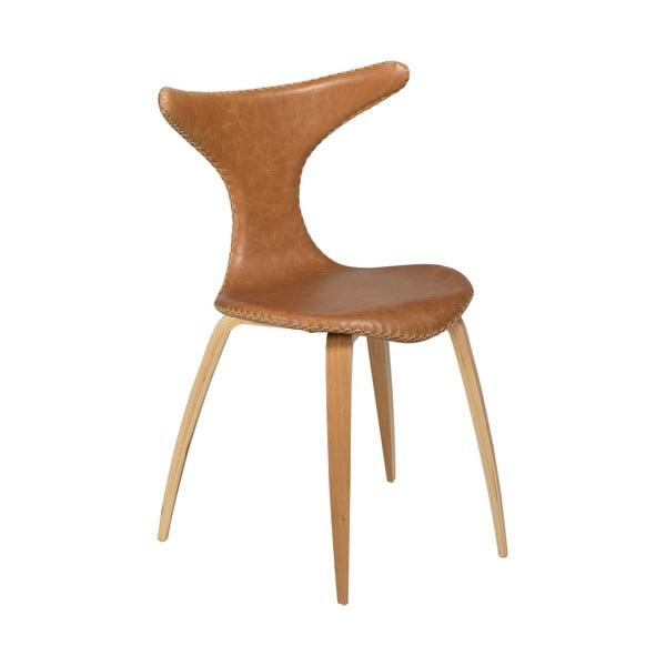 Hnědá kožená jídelní židle s přírodním podnožím DAN–FORM Denmark Dolphin