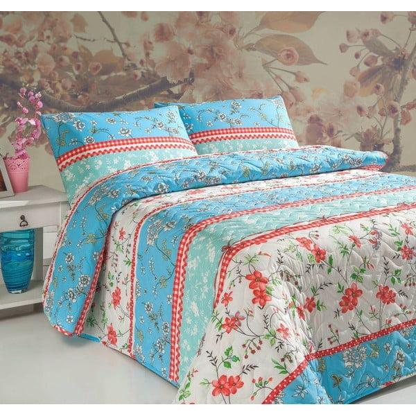 Sada prošívaného přehozu přes postel a dvou polštářů Double 409, 200x220 cm