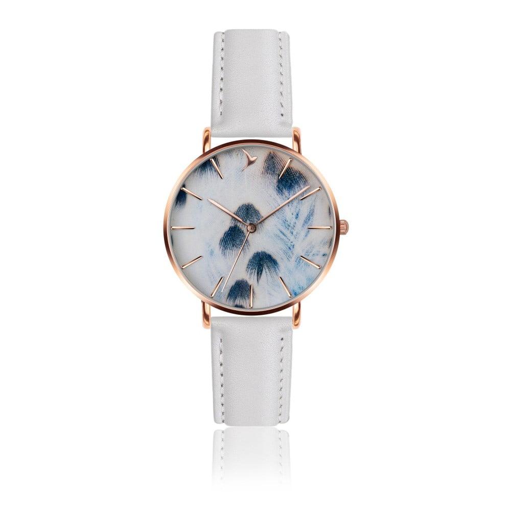 Dámské hodinky s bílým páskem z pravé kůže Emily Westwood Feather Mosaz