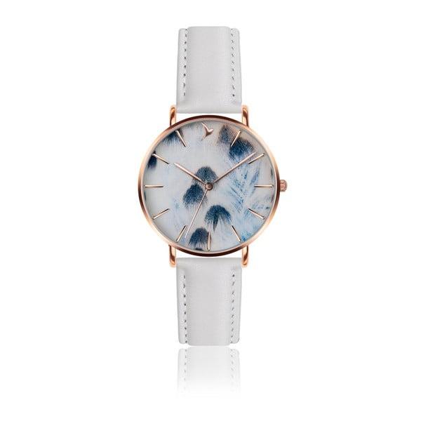 Dámske hodinky s bielym remienkom z pravej kože Emily Westwood Feather Mosadz