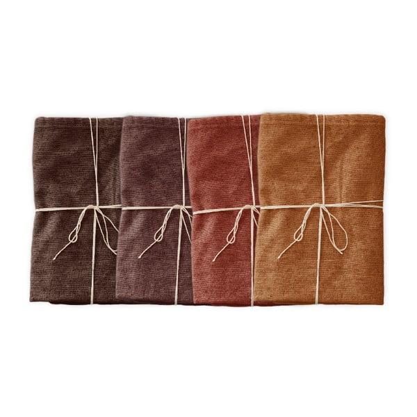 Sada 4 ks látkových obrúskov s prímesou ľanu Linen Couture Red Gradient, 43 x 43 cm