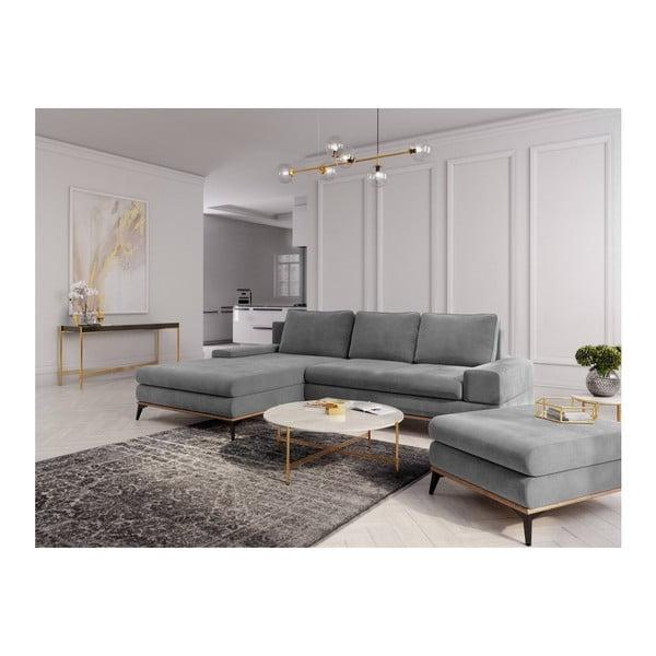 Canapea extensibilă tip colțar cu șezlong pe partea stângă Windsor & Co Sofas Planet, gri