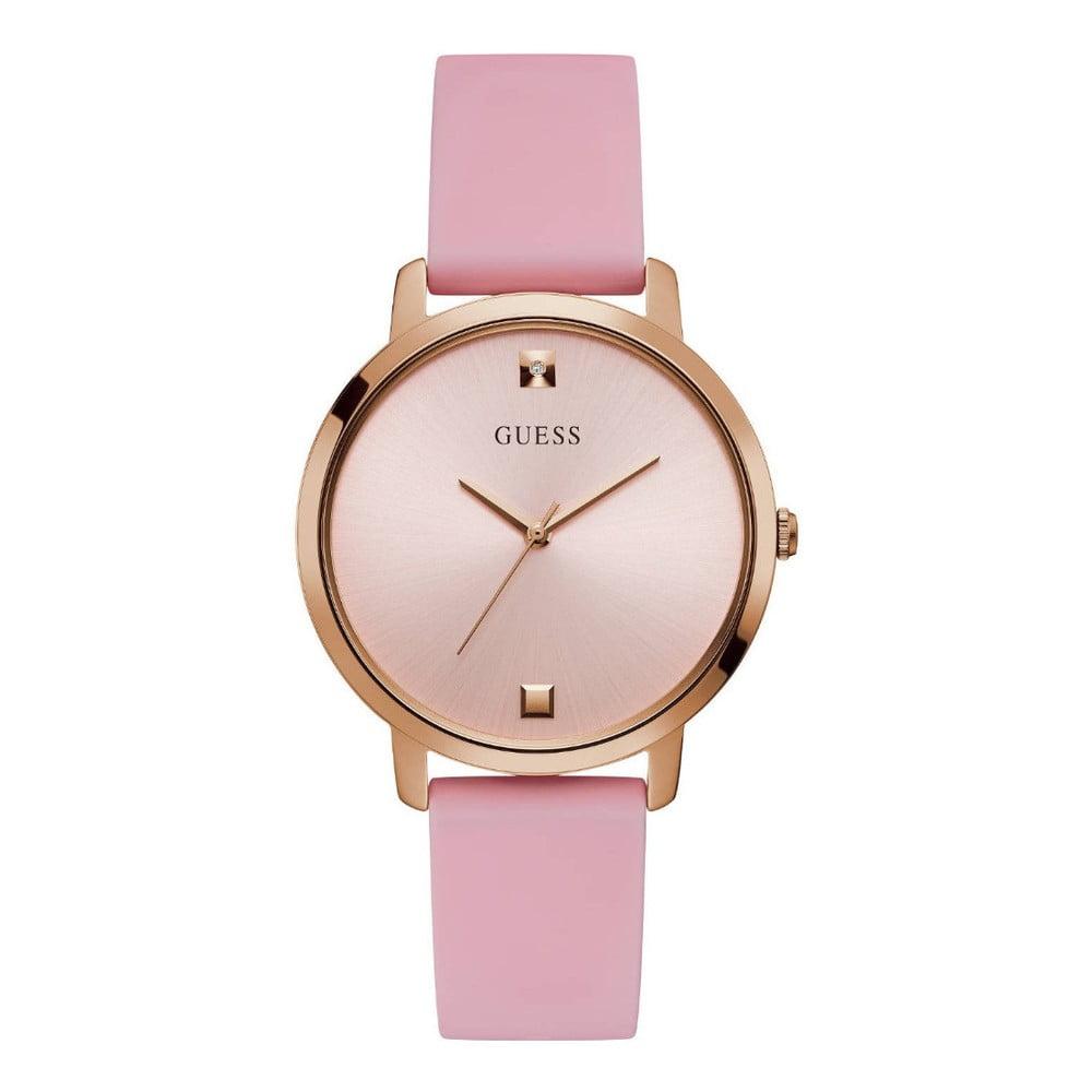 Dámské hodinky s růžovým silikonovým páskem Guess W1210L3