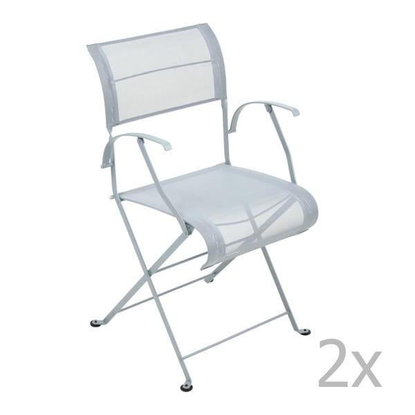 Sada 2 světle šedých skládacích židlí s područkami Fermob Dune