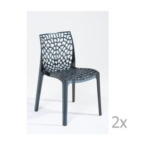Sada 2 šedých jídelních židlí Castagnetti Afrodite