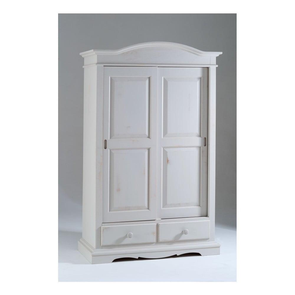 Bíl dřevěná šatní skříň s posuvnými dveřmi Castagnetti Estelle