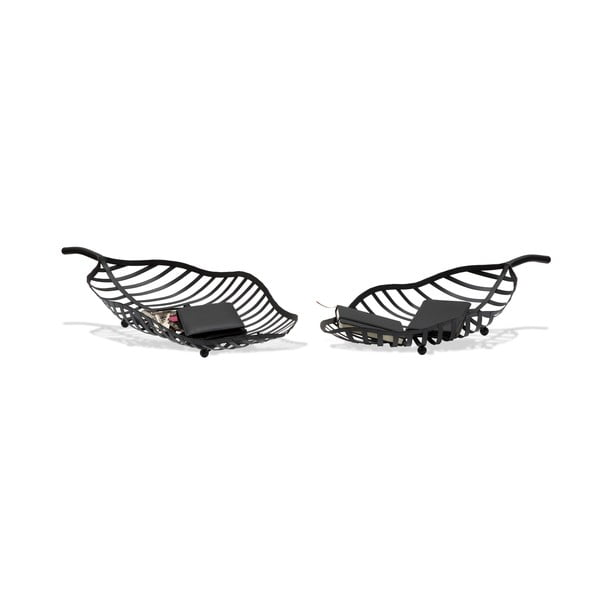 Set 2 boluri decorative Mauro Ferretti Leaf, negru