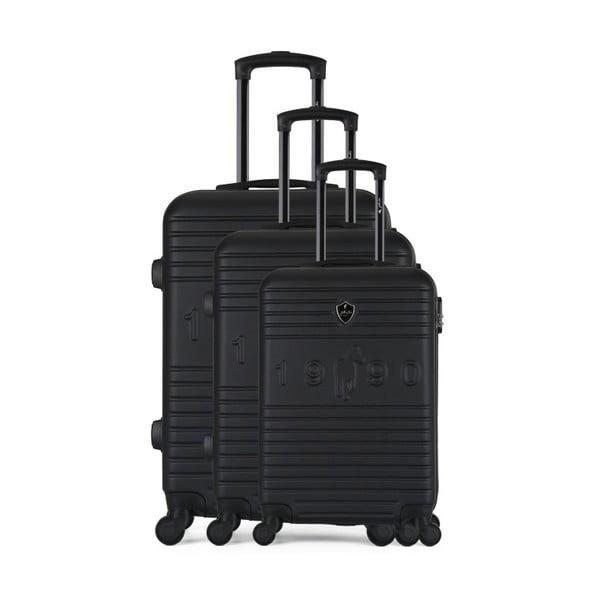 Sada 3 čiernych cestovných kufrov na kolieskach GENTLEMAN FARMER Cadenas Integre Duro