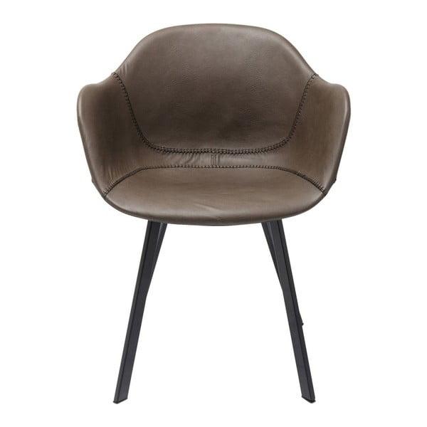 Hnědá židle s nohami z kovu Kare Design