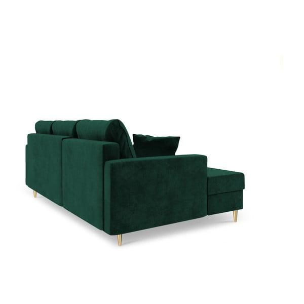 Zelená čtyřmístná rozkládací pohovka s úložným prostorem Mazzini Sofas Muguet, pravý roh