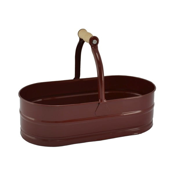 Kovová oválná nádoba se dřevěným madlem Kovotvar, 4 l, vínová