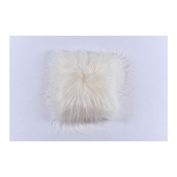 Bílý kožešinový polštář s dlouhým chlupem, 35x35cm