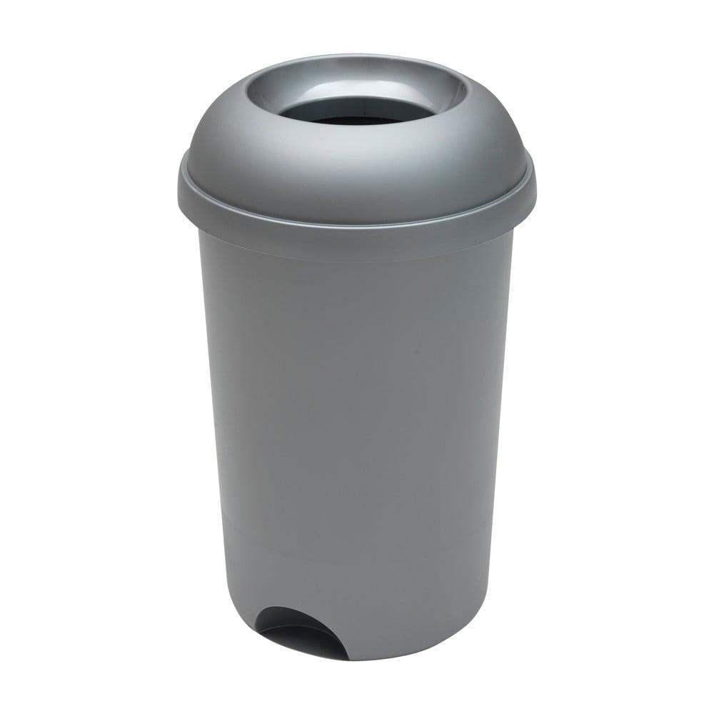 Šedý kulatý odpadkový koš s otevřeným víkem Addis, výška 65 cm