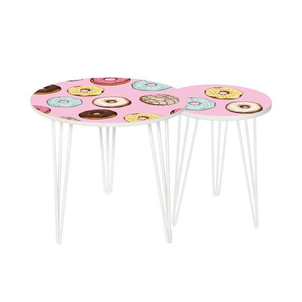 Sada 2 odkládacích stolků Tasty Donuts, 35 cm + 49 cm