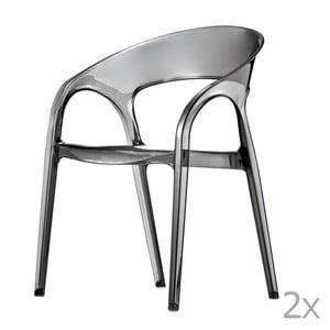 Sada 2 transarentních šedých  jídelních židlí Pedrali Gossip