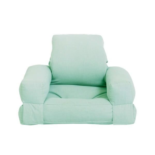 Miętowy dziecięcy fotel rozkładany Karup Design Mini Hippo Mint