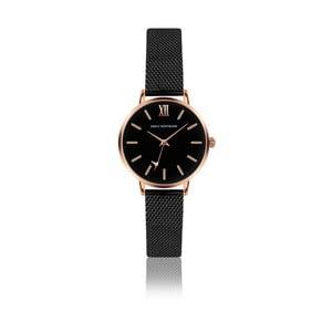 Černé dámské hodinky s páskem z nerezové oceli zlata Emily Westwood Estrella