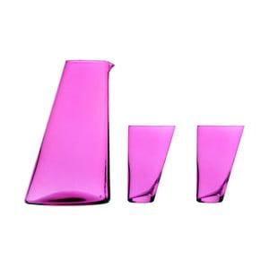 Set fialové ručně vyrobené karafy a 2 sklenic Surdic Ponza