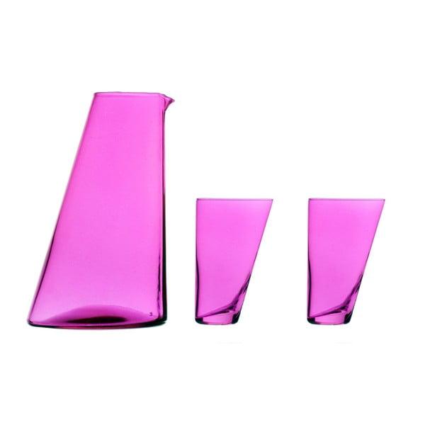 Set fialovej ručne vyrobenej karafy a 2 pohárov Surdic Ponza