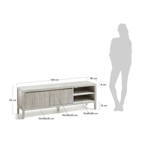 Bílý TV stolek La Forma Woody
