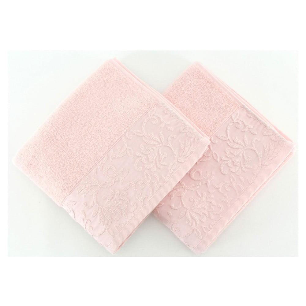 Sada 2 světle růžových ručníků Burumcuk, 50 x 90 cm