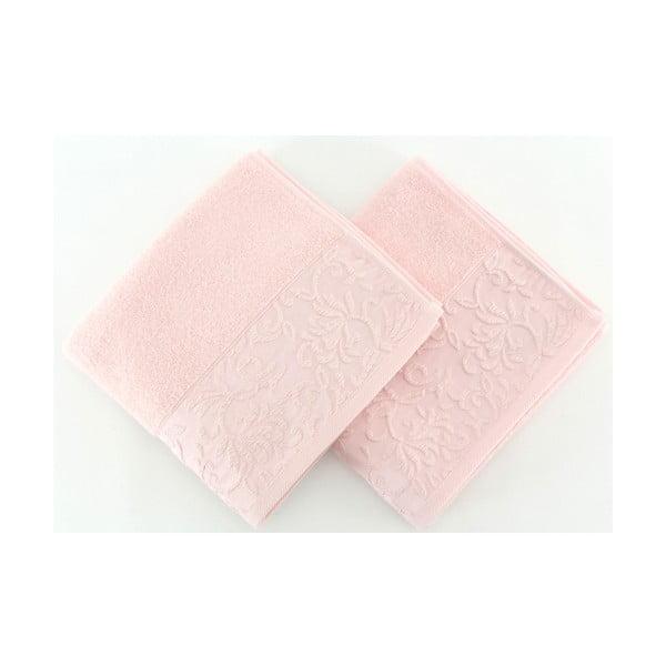 Sada 2 světle růžových ručníků ze 100% bavlny Burumcuk, 50 x 90 cm