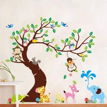 Set autocolante Ambiance Tree, Monkeys and Elephant de la Ambiance