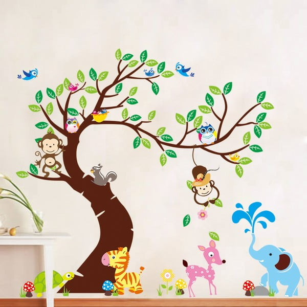 Set autocolante Ambiance Tree, Monkeys and Elephant