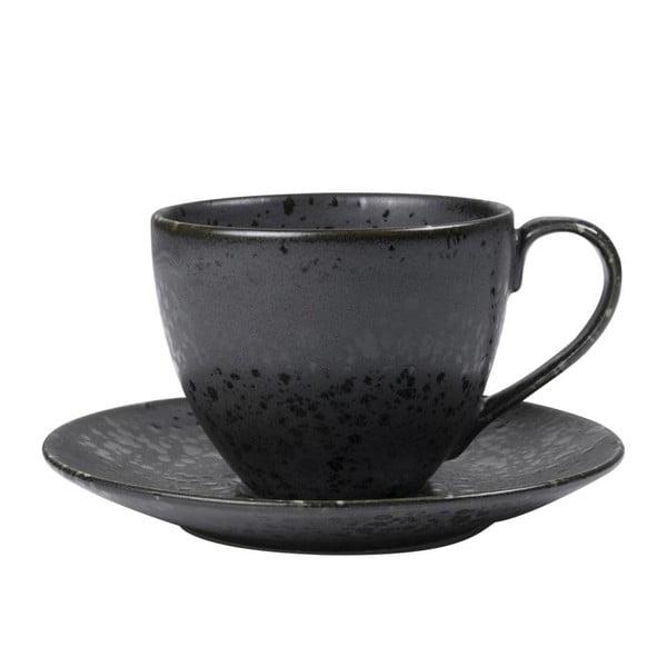 Černý kameninový šálek s podšálkem Bitz Mensa