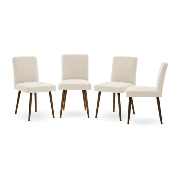 Set canapea gri cu șezlong pe partea dreaptă, 4 scaune crem și saltea 160 x 200 cm Home Essentials