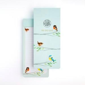 Světle modrý poznámkový blok GO Stationery Songbirds