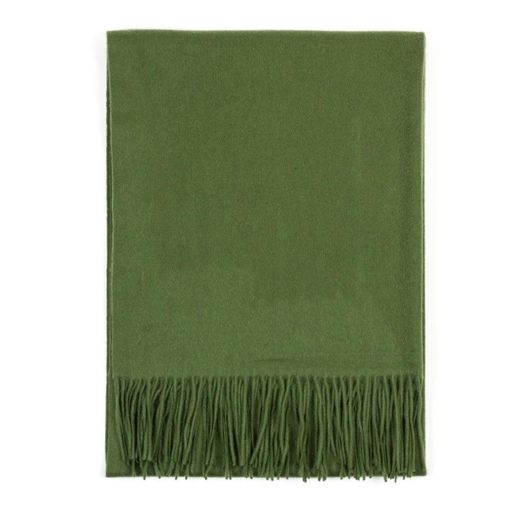 Tmavě zelená kašmírová šála Bel cashmere Lea, 200 x 70 cm