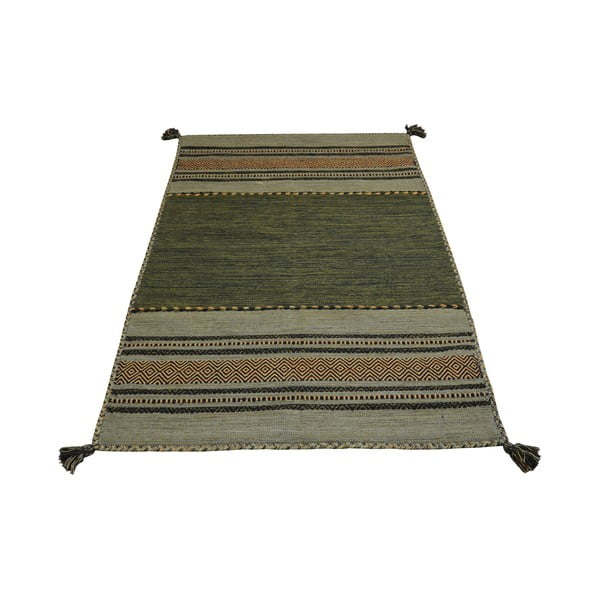 Zelený bavlněný koberec Webtappeti Antique Kilim, 120 x 180 cm