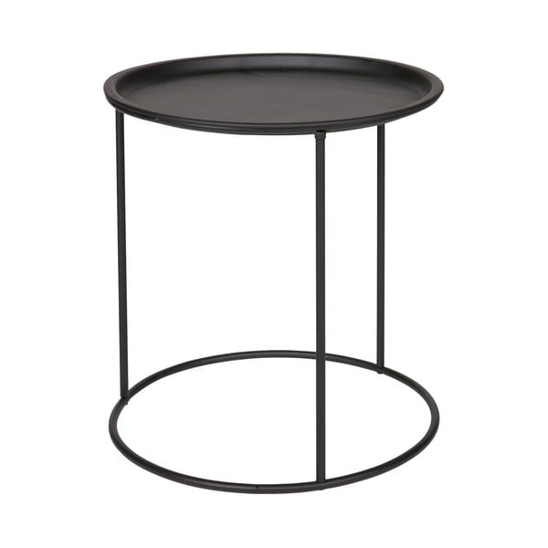 Černý odkládací stolek WOOOD Ivar, Ø40cm
