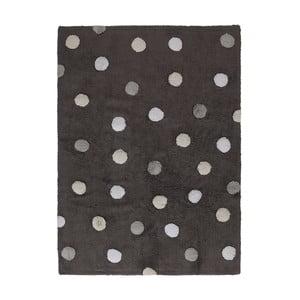 Tmavě šedý bavlněný ručně vyráběný koberec s šedými puntíky Lorena Canals Polka, 120x160cm