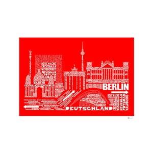 Plakát Berlin Red&White, 50x70 cm